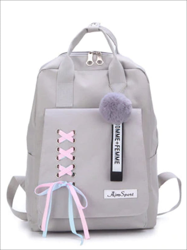 Girls Canvas 16 4 Piece Lace Up Ribbon Backpack Set - Grey Backpack / 16 inch - Girls Backpack