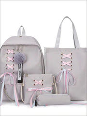 Girls Canvas 16 4 Piece Lace Up Ribbon Backpack Set - Grey Set / 16 inch - Girls Backpack