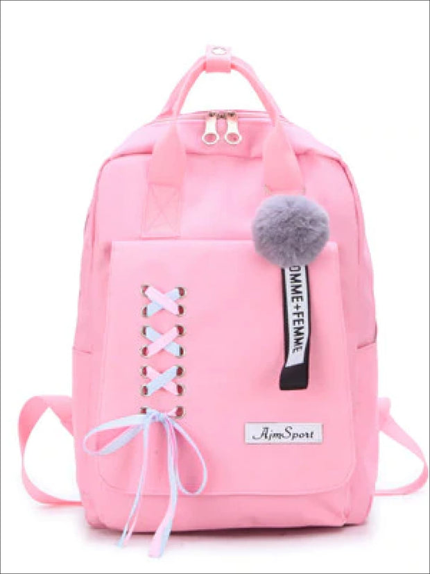 Girls Canvas 16 4 Piece Lace Up Ribbon Backpack Set - Pink Backpack / 16 inch - Girls Backpack