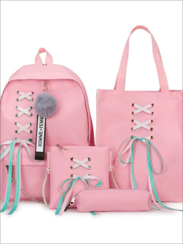 Girls Canvas 16 4 Piece Lace Up Ribbon Backpack Set - Pink Set / 16 inch - Girls Backpack