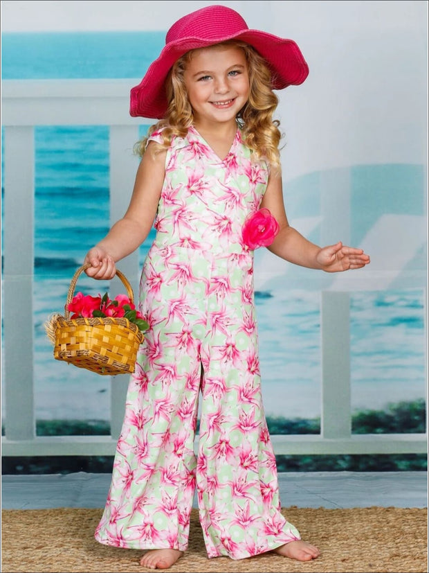 Girls Cap Sleeve Faux Wrap Palazzo Jumpsuit With Flower Clip - Girls Jumpsuit
