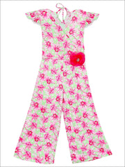 Girls Cap Sleeve Faux Wrap Palazzo Jumpsuit With Flower Clip - Fuchsia / 2T/3T - Girls Jumpsuit