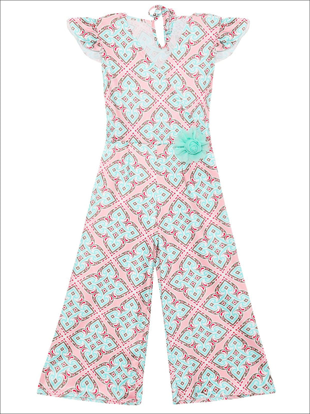 Girls Cap Sleeve Faux Wrap Palazzo Jumpsuit With Flower Clip - Mint / 2T/3T - Girls Jumpsuit