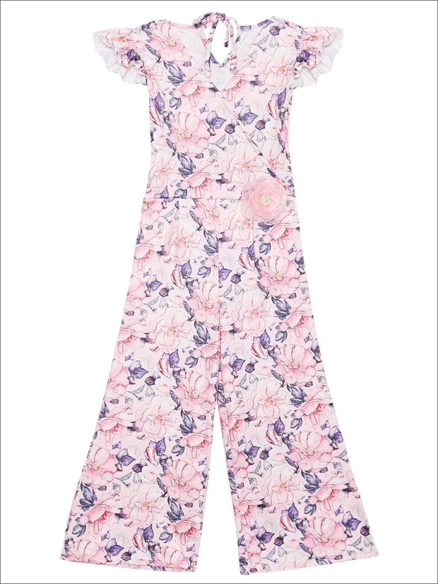 Girls Cap Sleeve Faux Wrap Palazzo Jumpsuit With Flower Clip - Pink / 2T/3T - Girls Jumpsuit