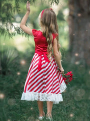 Girls Cap Sleeve Hi-Lo Overlay Ruffled Skirt Holiday Dress with Satin Flower Sash - Girls Fall Dressy Dress