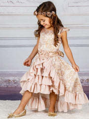 Girls Cap Sleeve Hi-Lo Overlay Ruffled Skirt Holiday Dress with Satin Flower Sash - Champagne / 2T/3T - Girls Fall Dressy Dress
