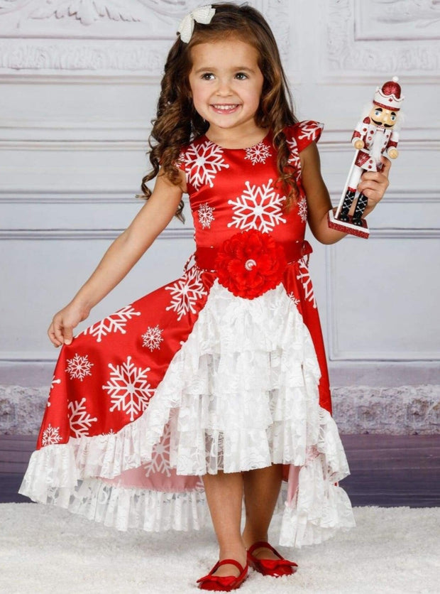 Girls Cap Sleeve Hi-Lo Overlay Ruffled Skirt Holiday Dress with Satin Flower Sash - Red / 2T/3T - Girls Fall Dressy Dress