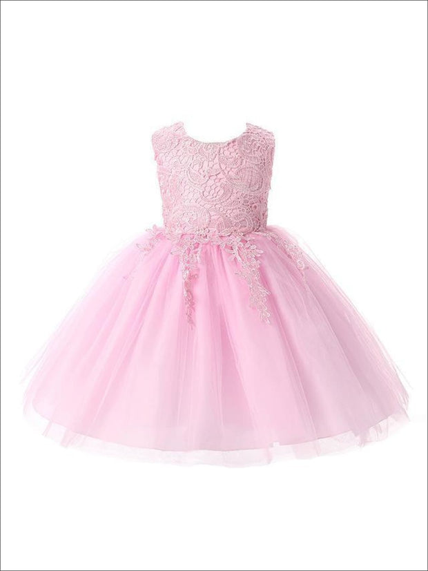 Girls Cascading Lace & Tulle Holiday Dress ( Lilac White blue & Pink) - Pink / 3T - Girls Spring Dressy Dress