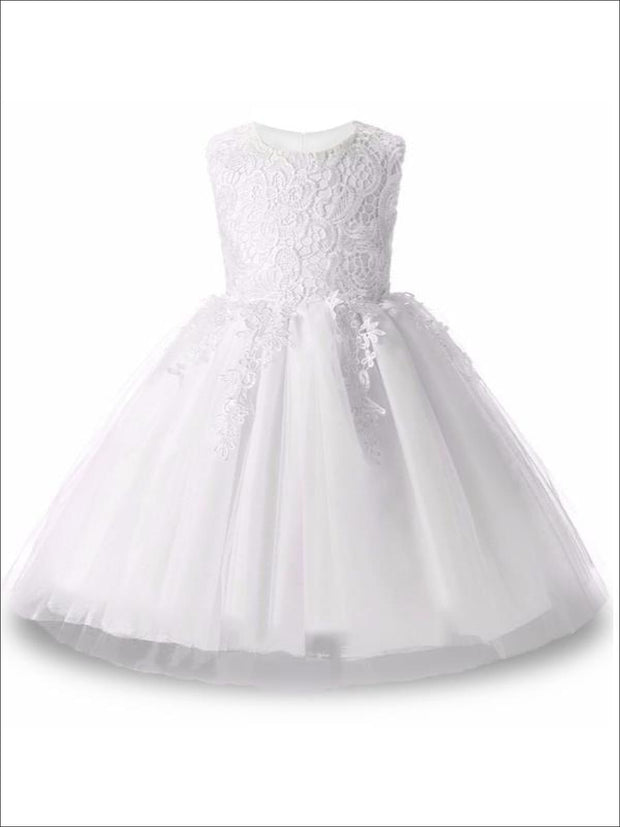 Girls Cascading Lace & Tulle Holiday Dress ( Lilac White blue & Pink) - White / 3T - Girls Spring Dressy Dress