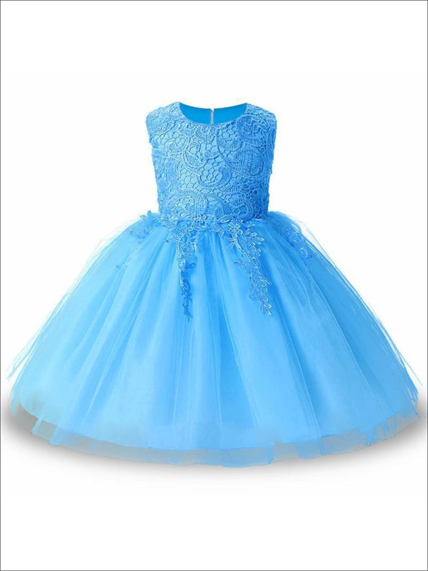 Girls Cascading Lace & Tulle Holiday Dress ( Lilac White blue & Pink) - Blue / 3T - Girls Spring Dressy Dress