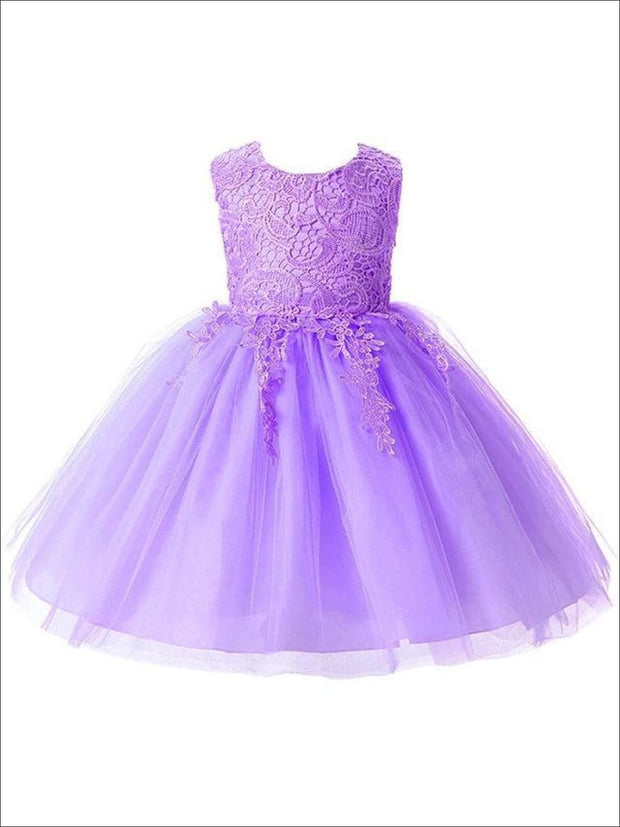 Girls Cascading Lace & Tulle Holiday Dress ( Lilac White blue & Pink) - Purple / 3T - Girls Spring Dressy Dress