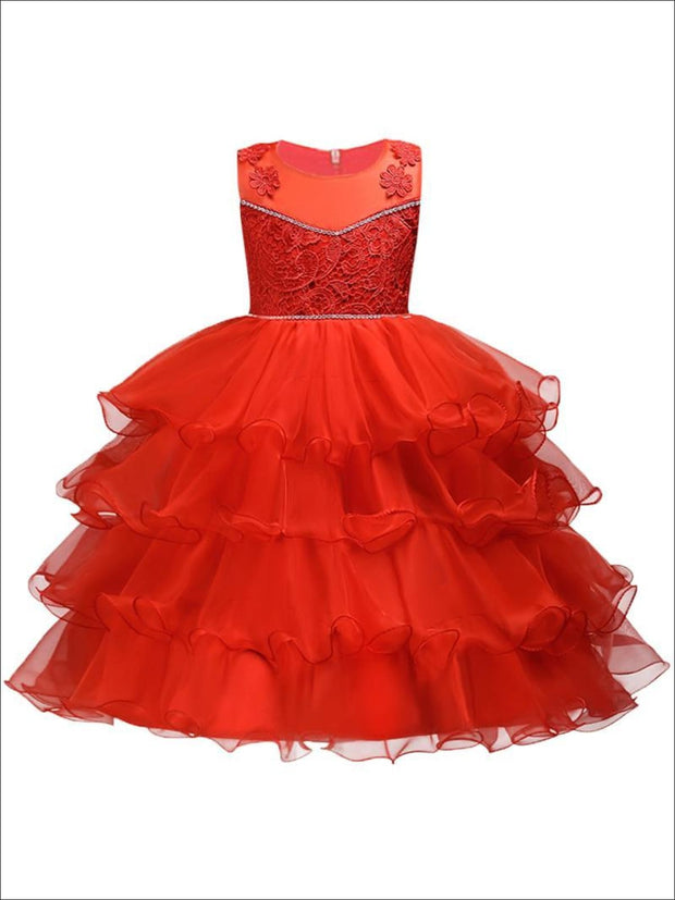 Girls Cascading Ruffle Fancy Party Dress (Red White Pink Gold Royal Blue) - Girls Fall Dressy Dress