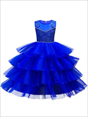 Girls Cascading Ruffle Fancy Party Dress (Red White Pink Gold Royal Blue) - Royal Blue / 3T - Girls Fall Dressy Dress