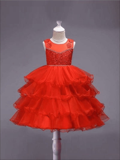 Girls Cascading Ruffle Fancy Party Dress (Red White Pink Gold Royal Blue) - Red / 3T - Girls Fall Dressy Dress