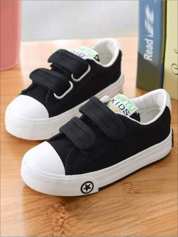 Girls Casual Double Strap Canvas Sneakers - Girls Sneakers