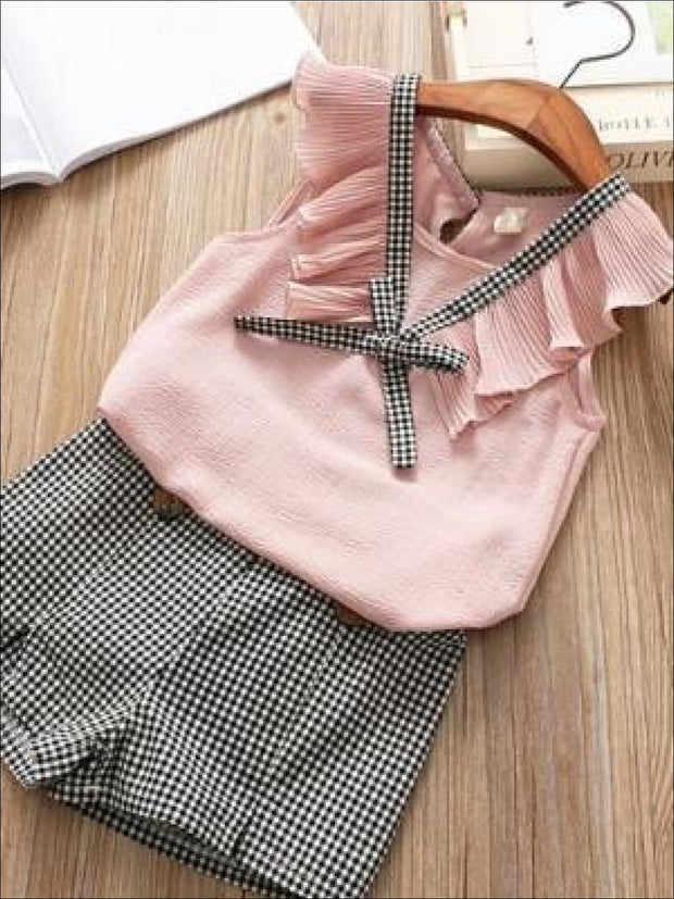 Girls Casual Flutter Sleeve Top & Gingham Print Shorts Set - Girls Spring Casual Set
