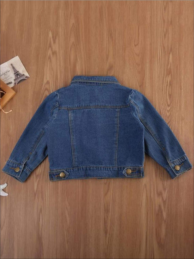 Girls Casual Long Sleeve Denim Jacket with Pockets - Girls Jacket