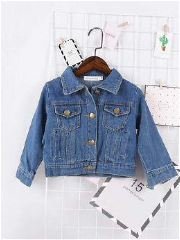 Girls Casual Long Sleeve Denim Jacket with Pockets - 2T - Girls Jacket