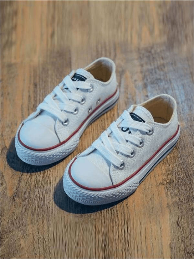 Girls Casual Low Top Sneakers - White / 1.5 - Girls Sneakers