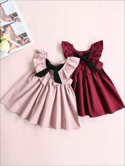 Girls Casual Ruffled Flutter Sleeve Dress with a Bow - Girls Spring Casual Dress