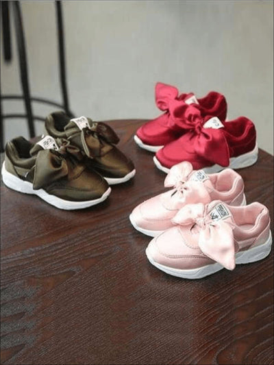 Girls Casual Satin Bow Tie Princess Sneakers - Girls Sneakers