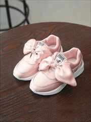 Girls Casual Satin Bow Tie Princess Sneakers - Pink / 1 - Girls Sneakers