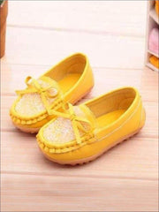 Girls Casual Shiny Princess Rhinestones Bow Tie Flats - Yellow / 1 - Girls Flats