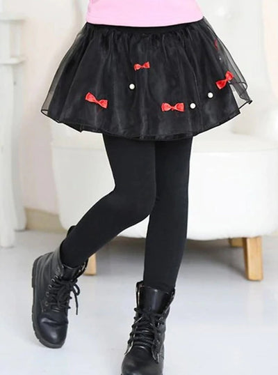 Girls Casual Skirted Tutu Leggings - Black / 2T - Girls Leggings