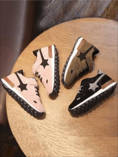 Girls Casual Slip Resistant Star Sneakers - Girls Sneakers