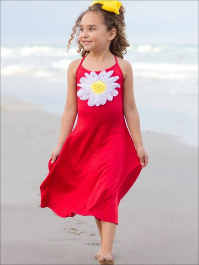 Girls Casual Spring Dress with Spaghetti Straps and Flower Applique - Girls Spring Casual Dress
