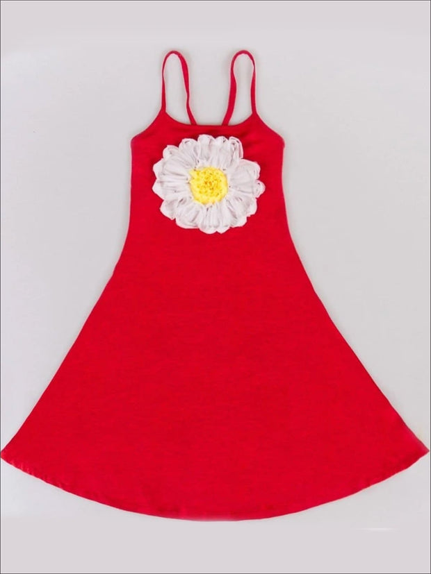 Girls Casual Spring Dress with Spaghetti Straps and Flower Applique - 2T / Red - Girls Spring Casual Dress