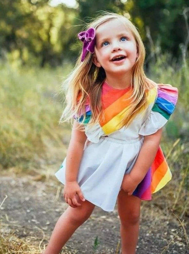Girls Casual Spring Ruffled Sleeve Rainbow Print Dress - Girls Spring Casual Dress