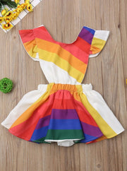 Girls Casual Spring Ruffled Sleeve Rainbow Print Dress - 2T / Rainbow - Girls Spring Casual Dress