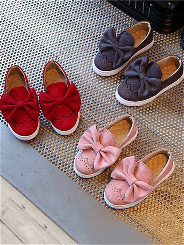 Girls Casual Suede Bow Tie Loafers By Liv and Mia - Girls Loafers