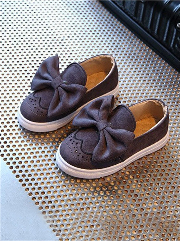Girls Casual Suede Bow Tie Loafers By Liv and Mia - Grey / 9.5 - Girls Loafers
