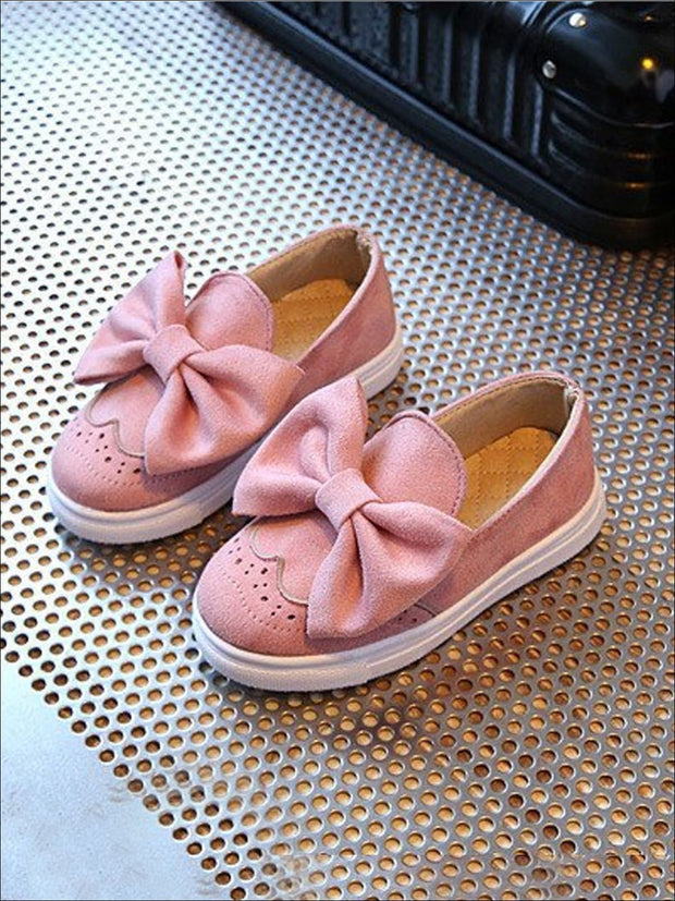 Girls Casual Suede Bow Tie Loafers By Liv and Mia - Pink / 9.5 - Girls Loafers