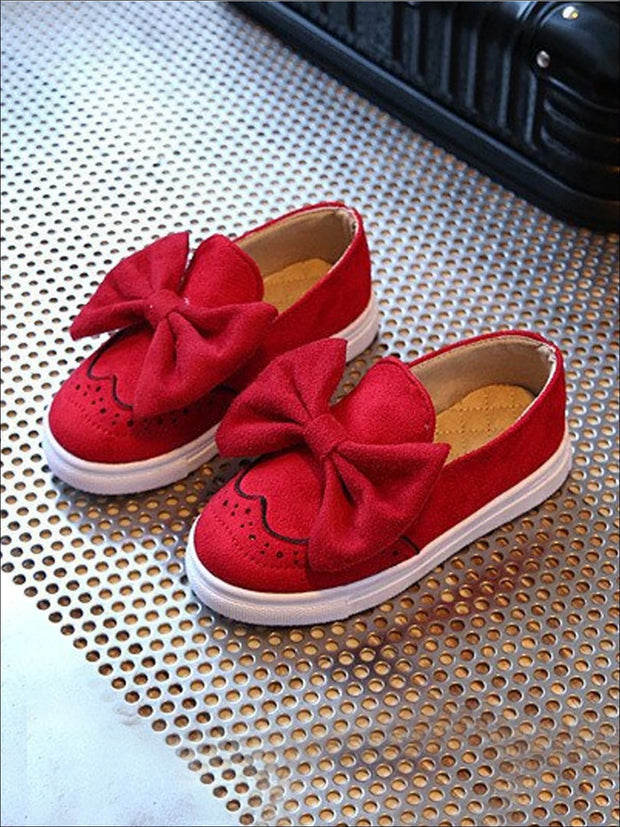 Girls Casual Suede Bow Tie Loafers By Liv and Mia - Red / 9.5 - Girls Loafers