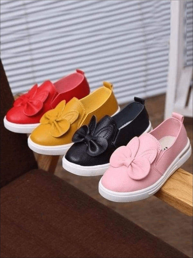 Girls Casual Synthetic Leather Bow Tie Slip-On Sneakers - Girls Loafers