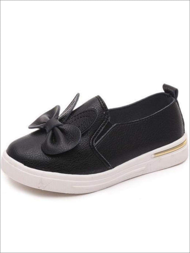 Girls Casual Synthetic Leather Bow Tie Slip-On Sneakers - Black / 1 - Girls Loafers
