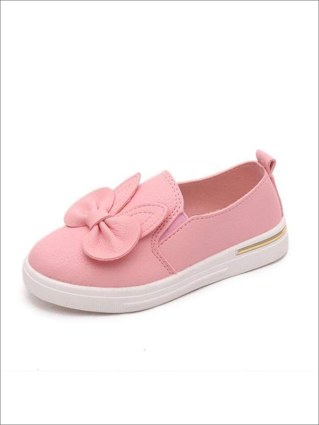 Girls Casual Synthetic Leather Bow Tie Slip-On Sneakers - Pink / 1 - Girls Loafers