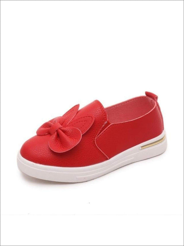 Girls Casual Synthetic Leather Bow Tie Slip-On Sneakers - Red / 1 - Girls Loafers