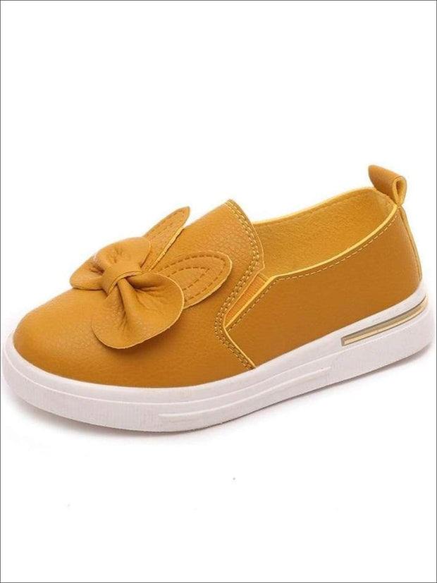 Girls Casual Synthetic Leather Bow Tie Slip-On Sneakers - Yellow / 1 - Girls Loafers