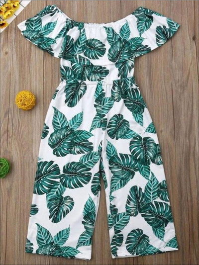 Girls Casual Tropical Print Off Shoulder Jumpsuit - Green / 4T - Girls Jumpsuit