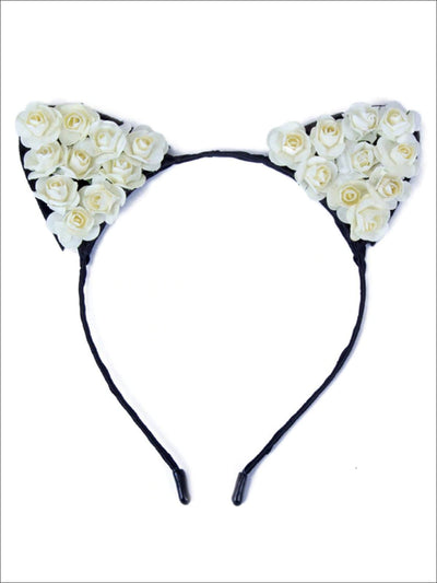 Girls Cat Ears Flower Embellished Headband - White - Hair Accessories