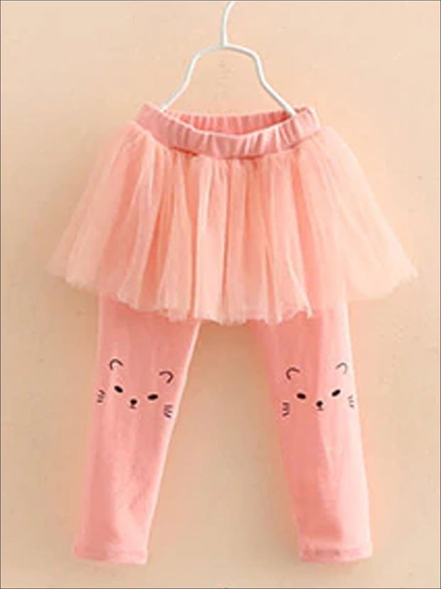 Girls Cat Print Tutu Skirt Leggings - Girls Leggings