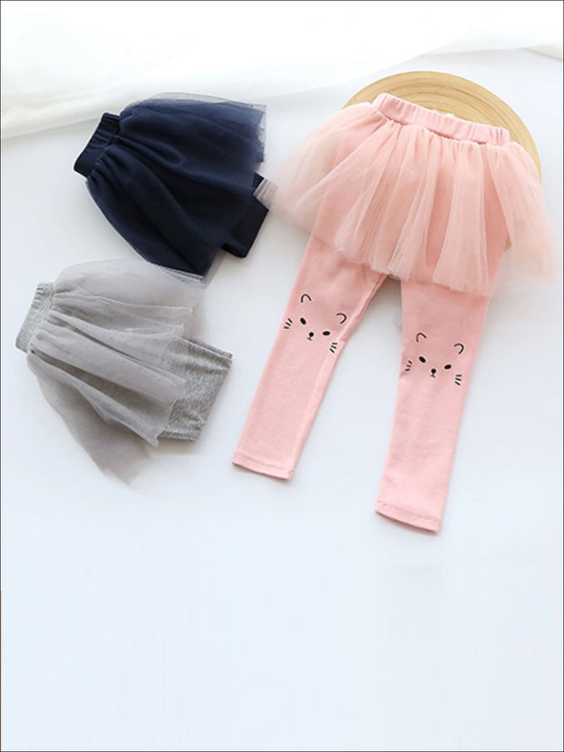 Girls Cat Print Tutu Skirt Leggings - Gray / 2T - Girls Leggings