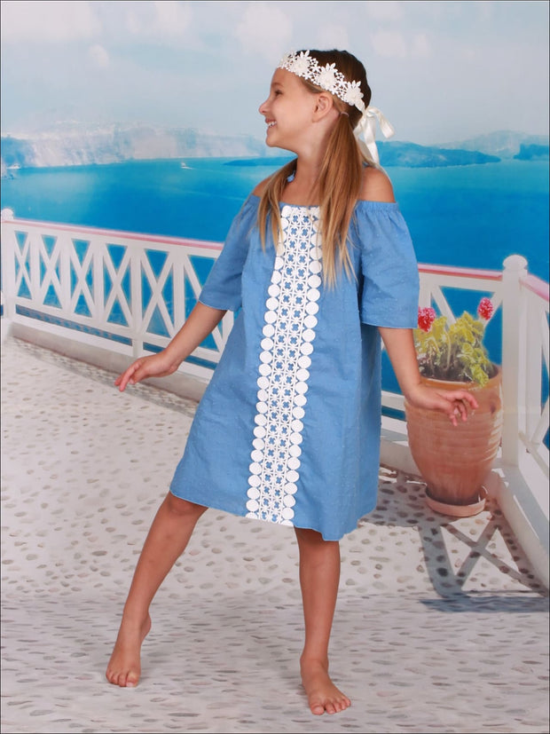 Girls Center Trimmed Off the Shoulder Boho Dress - Girls Spring Casual Dress