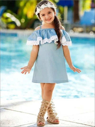 Girls Chambray Lace Ruffle Cold Shoulder Flower Dress - Girls Spring Casual Dress