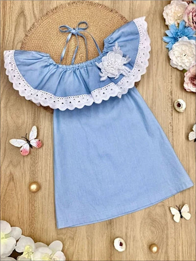 Girls Chambray Lace Ruffle Cold Shoulder Flower Dress - Denim / 2T/3T - Girls Spring Casual Dress