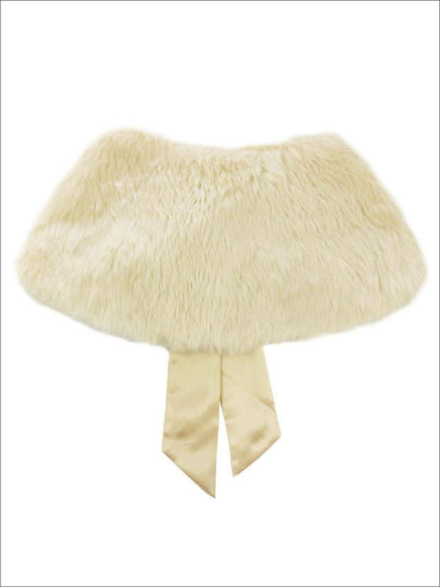 Girls Champagne Faux Fur Princess Cloak/Bolero - Girls Halloween Costume